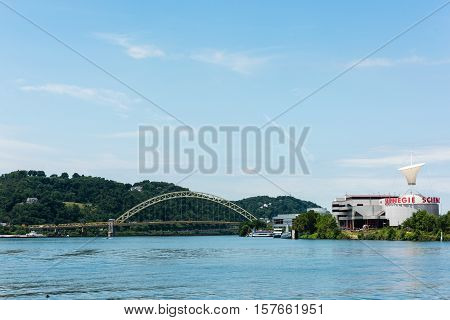 PITTSBURGH, PA - JULY 22 - The West End Bridge photographed from the Ohio River in Pittsburgh, Pennsylvania on July 22, 2016