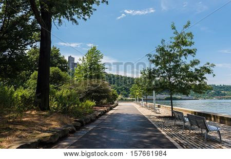 Trees and walkways at Point State Park in Pittsburgh, Pennsylvania