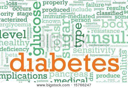 Diabetes-Krankheit-Konzept mit einem Terminologie-Kunst