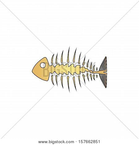 Fishbone Gold vector icon with black contour line. Flat computer symbol
