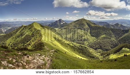Mala Fatra National Park, Slovakia. View from the mountain ridge to Velky Rozsutec, Stena and Stoh hills.