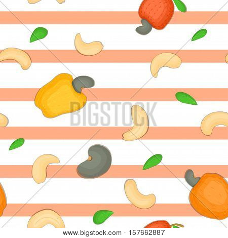 Seamless vector pattern of cashew nut. Striped background with delicious cashew nuts, leaves. Illustration can be used for printing on fabric, textile in design packaging, packaging design