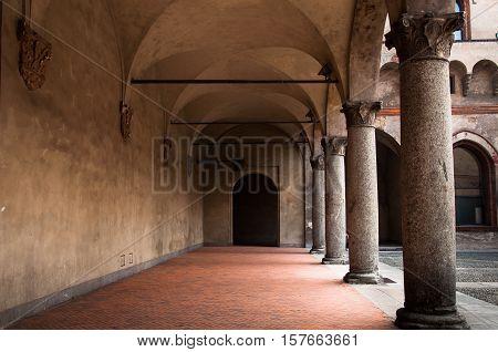 MILAN, ITALY - MAY 28, 2010: Sforza Castle in Milan, Italy. The castle was built in 1450 by Francesco Sforza, Duke of Milan