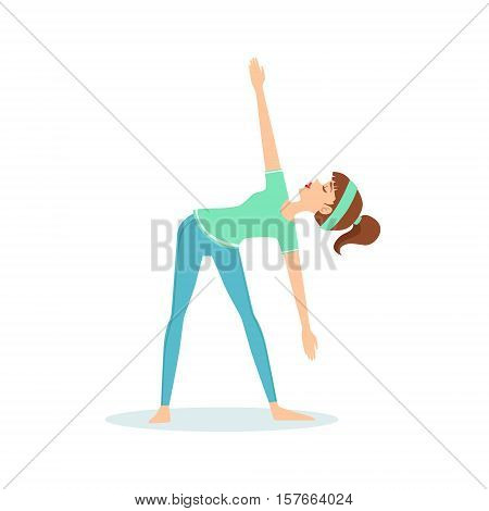 Triangle Trikonasana Yoga Pose Demonstrated By The Girl Cartoon Yogi With Ponytail In Blue Sportive Clothing Vector Illustration. Part Of Collection Of Yoga Asana Postures Drawing With Young Woman In Training Outfit poster