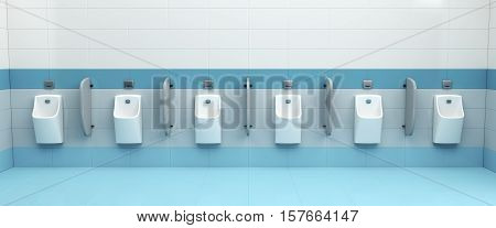 Row of urinals at public men's restroom, 3D illustration