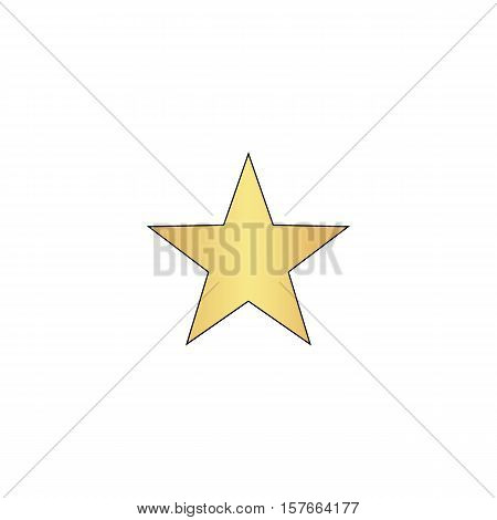 Clasic star Gold vector icon with black contour line. Flat computer symbol