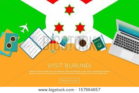 Visit Burundi Concept For Your Web Banner Or Print Materials. Top View Of A Laptop, Sunglasses And C