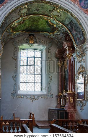 LUCERNE, SWITZERLAND - JUNE 9, 2010: A window in Lucerne, Switzerland's Jesuit Church, the first large baroque church built in Switzerland north of the alps