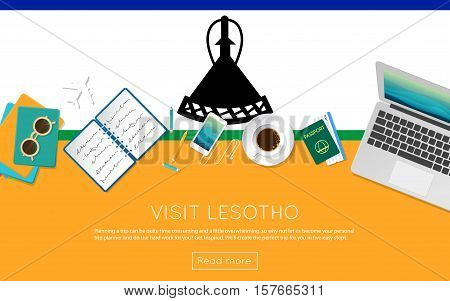 Visit Lesotho Concept For Your Web Banner Or Print Materials. Top View Of A Laptop, Sunglasses And C