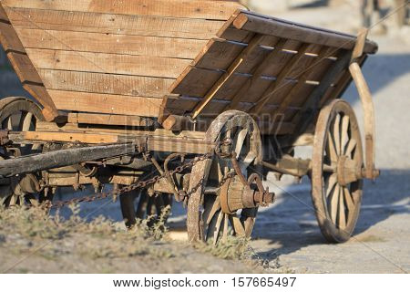 Ancient Wooden cart on a bright sunny day