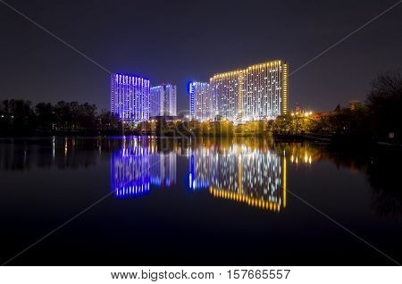 Night city. Izmailovo Hotel in Moscow, Russia. One of the largest hotels in the world. There are 7500 beds in 5000 rooms.