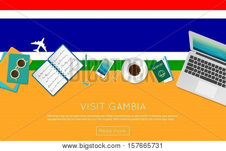 Visit Gambia Concept For Your Web Banner Or Print Materials. Top View Of A Laptop, Sunglasses And Co