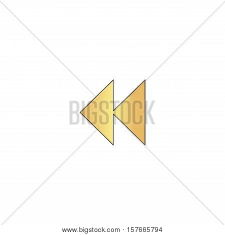 rewind  Gold vector icon with black contour line. Flat computer symbol