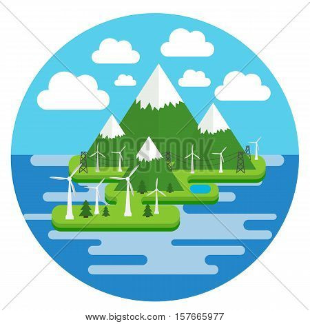 Vector illustration in a flat style of environmentally friendly types of energy, environment, wind power plants on the island in the ocean.