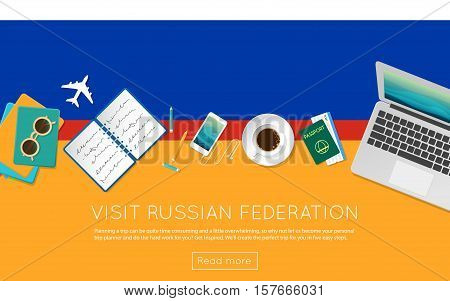 Visit Russian Federation Concept For Your Web Banner Or Print Materials. Top View Of A Laptop, Sungl
