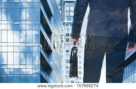 Double exposure of man and cityscape background. Business concept.