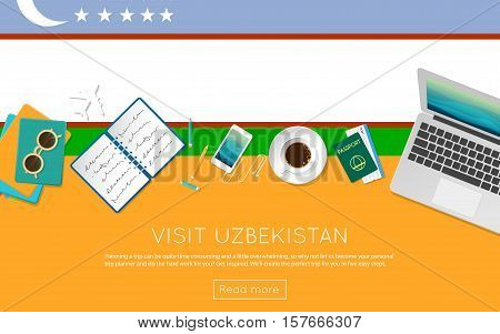 Visit Uzbekistan Concept For Your Web Banner Or Print Materials. Top View Of A Laptop, Sunglasses An