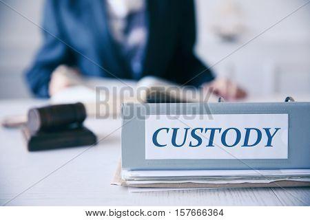 Folder with word CUSTODY on judge table, closeup