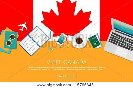 Visit Canada Concept For Your Web Banner Or Print Materials. Top View Of A Laptop, Sunglasses And Co
