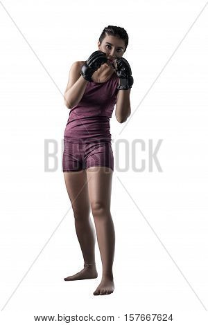 female fighter in dodging position isolated on white background