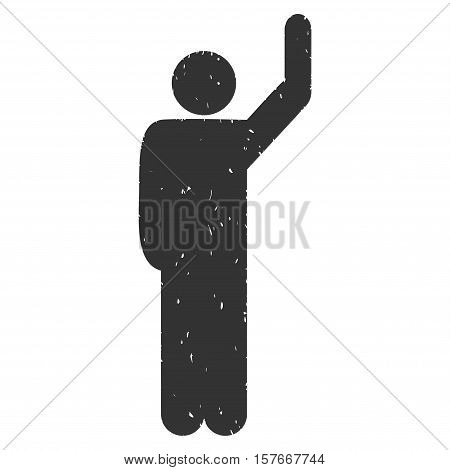Hitchhike Pose grainy textured gray icon for overlay watermark stamps. Flat symbol with scratched texture. Dotted vector ink rubber seal stamp with grunge design on a white background.
