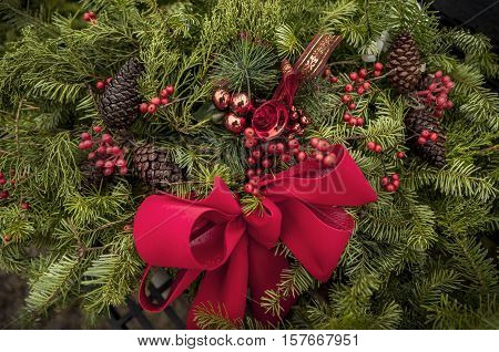 Xmas holiday background with homemade christmas decorations