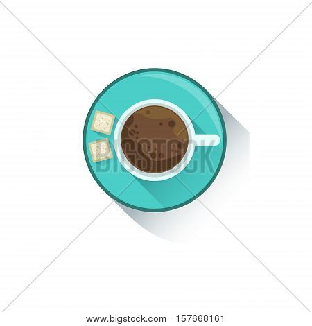 Cup Of Coffee With Two Cubes Of Sugar Office Worker Desk Element, Part Of Workplace Tools And Stationary Collection Of Objects. Items For Fully Equipped Working Table Vector Illustration With View From Above.