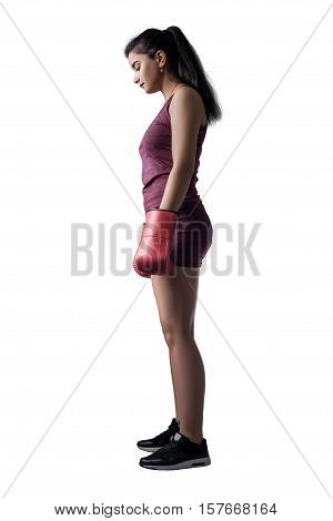female boxer side view isolated on white background