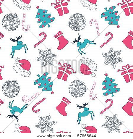 Abstract Cute Holiday Christmas Seamless Pattern On A White Background