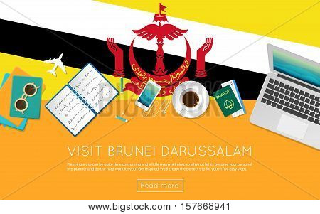 Visit Brunei Darussalam Concept For Your Web Banner Or Print Materials. Top View Of A Laptop, Sungla
