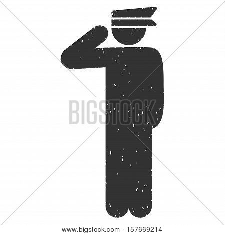 Police Officer grainy textured gray icon for overlay watermark stamps. Flat symbol with dust texture. Dotted vector ink rubber seal stamp with grunge design on a white background.