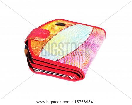 The red purse isolated on white background
