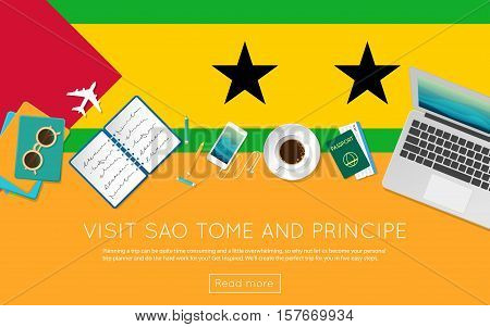 Visit Sao Tome And Principe Concept For Your Web Banner Or Print Materials. Top View Of A Laptop, Su