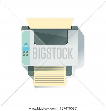 Laser Printer Office Worker Desk Element, Part Of Workplace Tools And Stationary Collection Of Objects. Items For Fully Equipped Working Table Vector Illustration With View From Above.