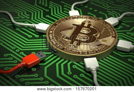 Red And White USB Wires Connected To The Bitcoin On Green Printed Circuit Board. 3D Illustration.