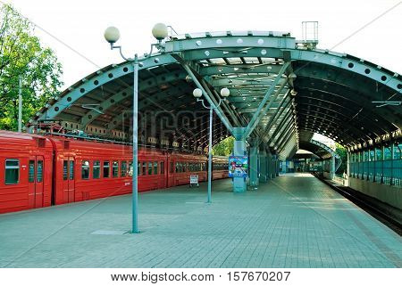 Moscow, Russia - June 20, 2010: Aeroexpress Train. Aeroexpress trains make trips to Moscow Domodedovo Airport daily, according to the timetable
