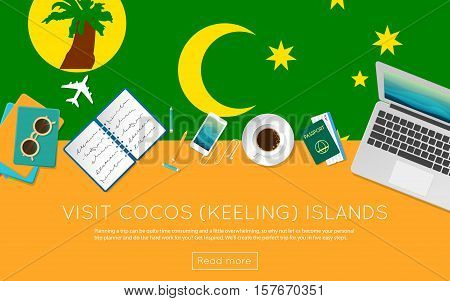 Visit Cocos (keeling) Islands Concept For Your Web Banner Or Print Materials. Top View Of A Laptop,