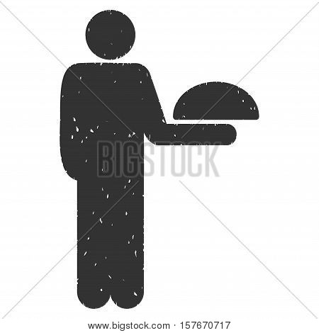 Standing Waiter grainy textured gray icon for overlay watermark stamps. Flat symbol with scratched texture. Dotted vector ink rubber seal stamp with grunge design on a white background.