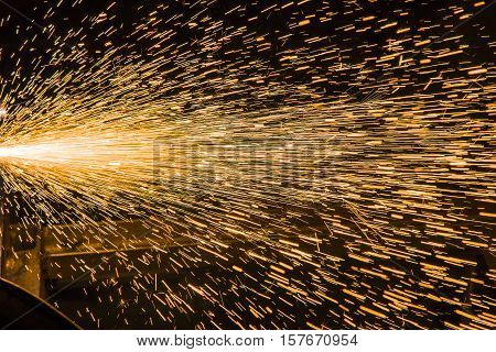 Sparks from Welding fireworks from the plasma welding