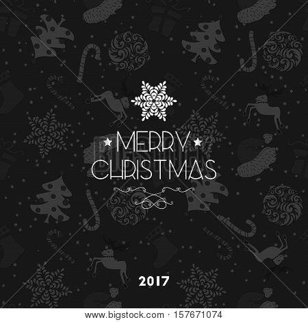Abstract Cute Holiday Christmas Seamless Black And White Pattern