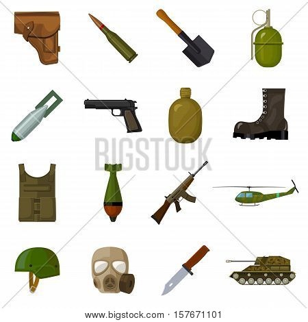 Military and army set icons in cartoon style. Big collection of military and army vector symbol stock