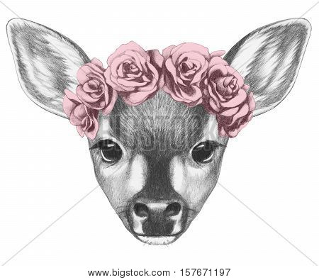 Portrait of Fawn with floral head wreath. Hand drawn illustration.