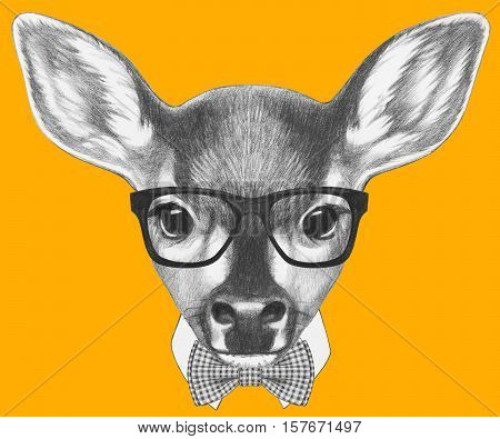 Portrait of Fawn with glasses and bow tie. Hand drawn illustration.