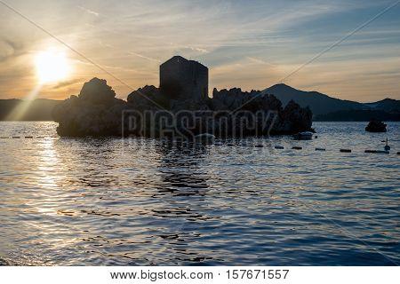 Summer sunset in Przno bay in Montenegro