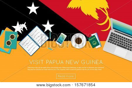 Visit Papua New Guinea Concept For Your Web Banner Or Print Materials. Top View Of A Laptop, Sunglas