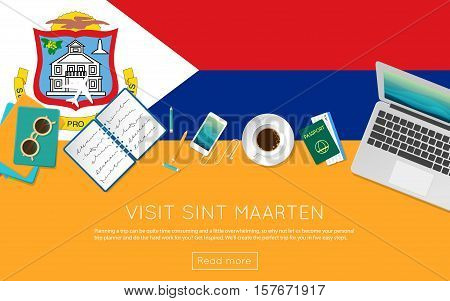 Visit Sint Maarten Concept For Your Web Banner Or Print Materials. Top View Of A Laptop, Sunglasses