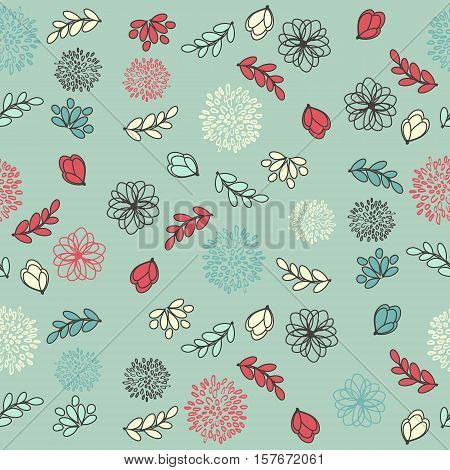Seamless Floral Ornament Contoured Pattern With Flowers And Leaves