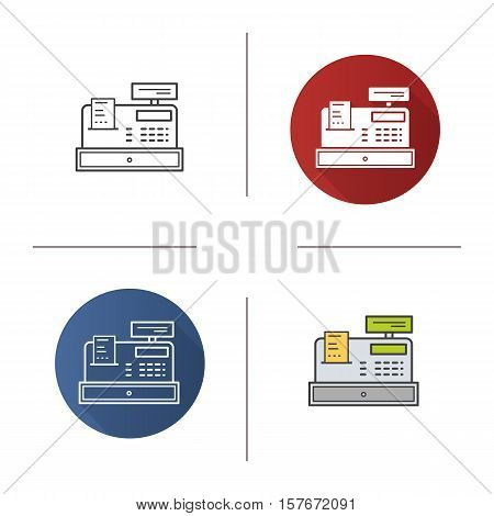 Cash register icon. Flat design, linear and color styles. Isolated vector illustrations
