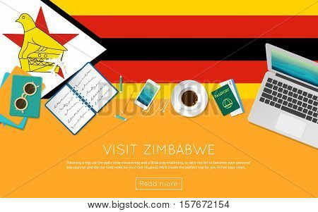 Visit Zimbabwe Concept For Your Web Banner Or Print Materials. Top View Of A Laptop, Sunglasses And