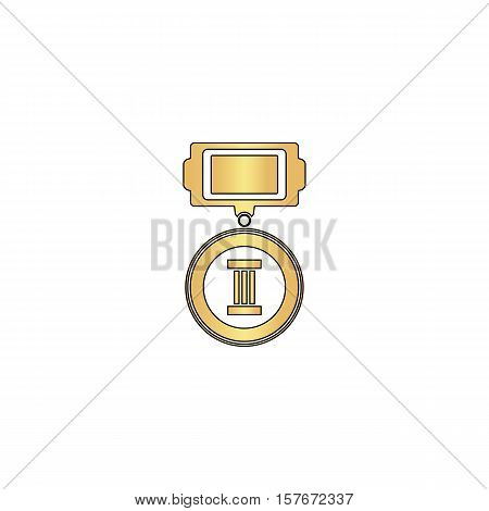 Medal Gold vector icon with black contour line. Flat computer symbol